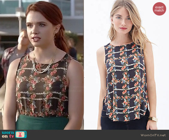Forever 21 Floral Print Woven Top worn by Katie Stevens on Faking It