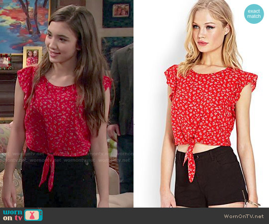 Forever 21 Floral Tie Front Top worn by Rowan Blanchard on Girl Meets World