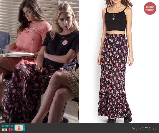 Forever 21 Tiered Floral Maxi Skirt worn by Ashley Benson on PLL