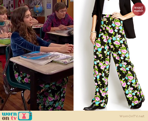 Forever 21 Floral Vibrant Wide Leg Pants worn by Rowan Blanchard on Girl Meets World