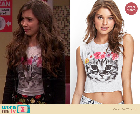 Forever 21 Flower Crown Kitten Tank worn by Rowan Blanchard on Girl Meets World