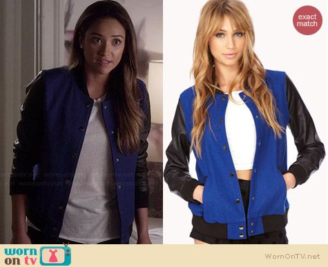 Forever 21 Fresh Colorblocked Varsity Jacket worn by Shay Mitchell on PLL