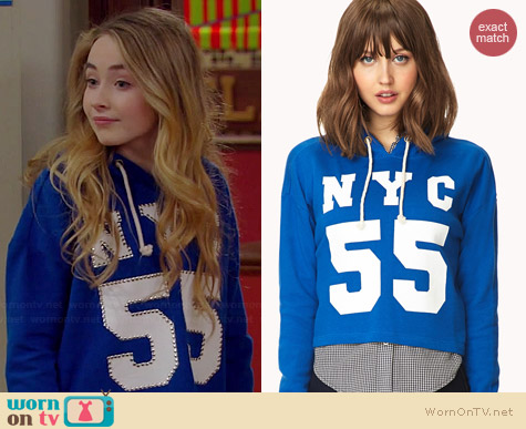Forever 21 Fresh NYC Cropped Hoodie worn by Sabrina Carpenter on Girl Meets World