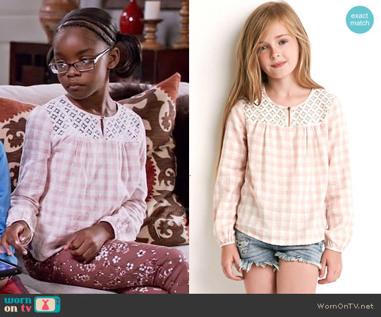 Forever 21 Girls Crochet-Panel Checked Top in Pink/Cream worn by Marsai Martin on Blackish