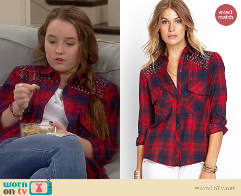 Forever 21 Grommet Plaid Shirt worn by Kaitlyn Dever on Last Man Standing