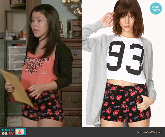 Forever 21 Groovy Floral Corduroy Shorts worn by Mariana Foster on The Fosters