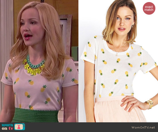 Forever 21 Island Pineapple Knit Tee worn by Dove Cameron on Liv & Maddie