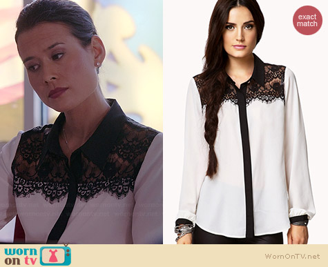 Forever Lace Yoke Contrast Blouse worn by Shi Ne Nielson on Chasing Life