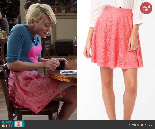 Forever 21 Lace Overlay A-Line Skirt worn by Chelsea Kane on Baby Daddy