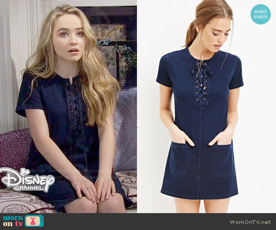 Forever 21 Lace-Up Shift Dress worn by Sabrina Carpenter on Girl Meets World