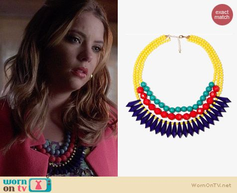 Forever 21 Layered Colorblock Necklace worn by Ashley Benson on PLL