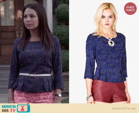 Forever 21 Leopard Print Peplum Top worn by Janel Parrish on PLL