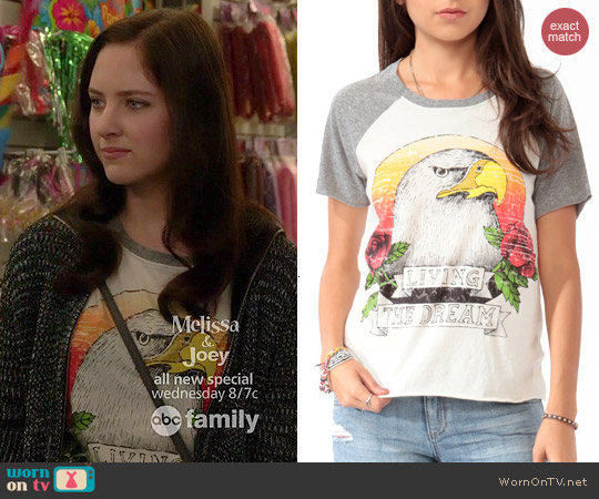 Forever 21 Living the Dream Baseball Tee worn by Haley Ramm on Chasing Life