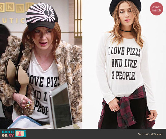 Forever 21 Love Pizza & People Top worn by Karen Gillan on Selfie
