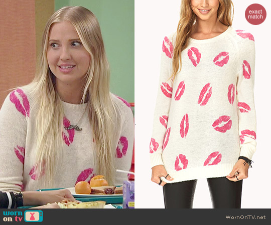 Forever 21 Lovely Lips Raglan Sweater worn by Veronica Dunne on KC Undercover