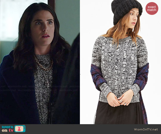 Forever 21 Marled Cable Knit Sweater worn by Karla Souza on HTGAWM