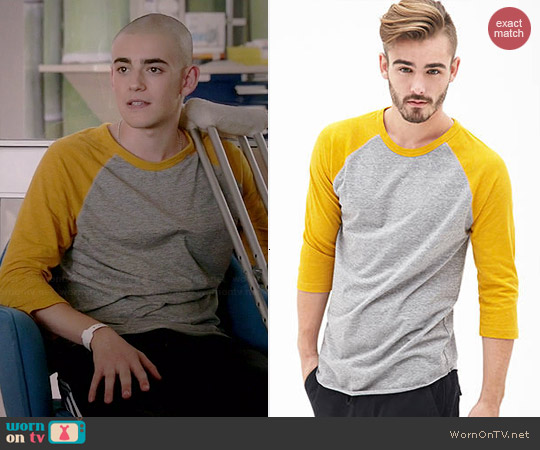 Forever 21 Men's Heathered Colorblock Raglan Tee worn by Charlie Rowe on Red Band Society