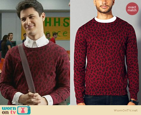 Forever 21 Mens Leopard Crew Neck Sweater in Burgundy worn by Michael Willett on Faking It