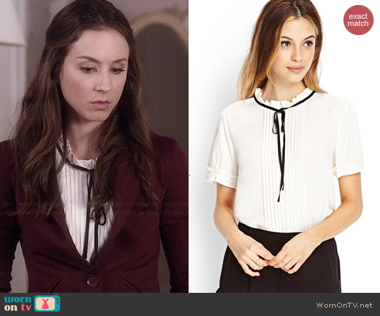 Forever 21 Micro Pleated Blouse worn by Troian Bellisario on PLL