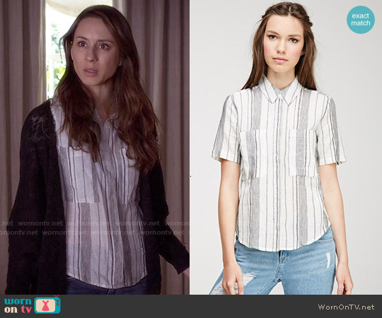 Forever 21 Mixed Stripe Linen-Blend Shirt worn by Troian Bellisario on PLL