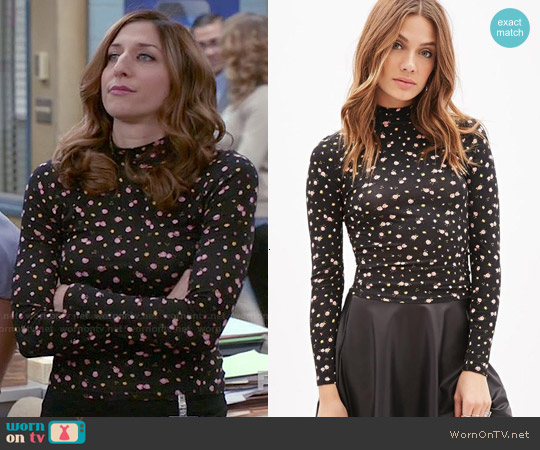Forever 21 Mock Neck Rose Print Top worn by Chelsea Peretti on Brooklyn Nine-Nine