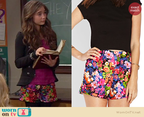 Forever 21 Night Bloom Shorts worn by Rowan Blanchard on Girl Meets World