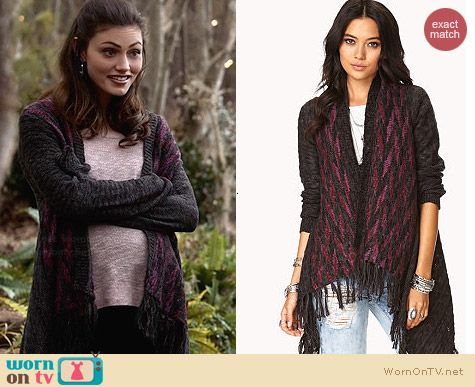 Forever 21 One The Range Fringe Cardigan worn by Phoebe Tonkin on The Originals