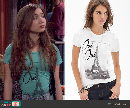 Forever 21 Oui Oui Knit Tee worn by Rowan Blanchard on Girl Meets World