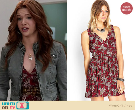 Forever 21 Paisley Print Tie Back Dress worn by Katie Stevens on Faking It