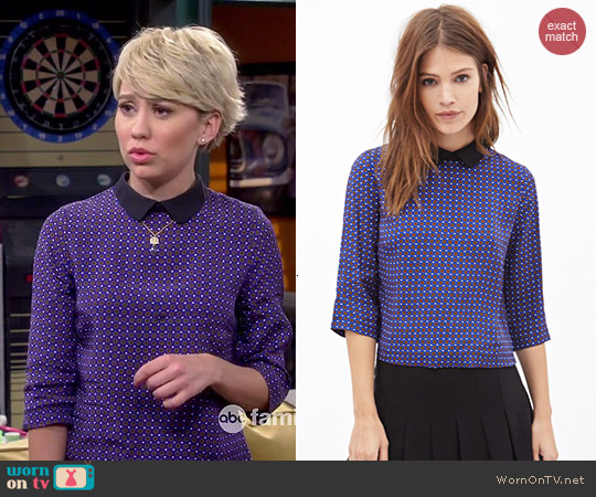 WornOnTV: Riley's Blue Buttoned Back Top With Black Collar