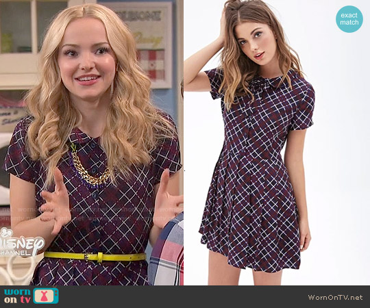 Forever 21 Plaid Print Shirtdress worn by Dove Cameron on Liv & Maddie