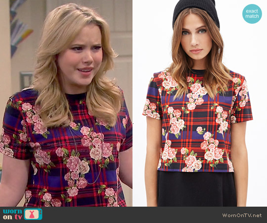 Forever 21 Plaid & Rose Print Top worn by Taylor Spreitler on Melissa & Joey