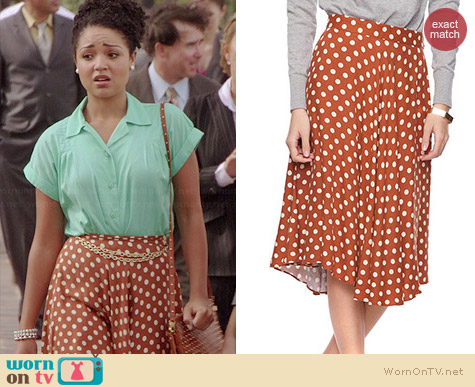 Forever 21 Polka Dot Calf Skirt worn by Aisha Dee on Chasing Life