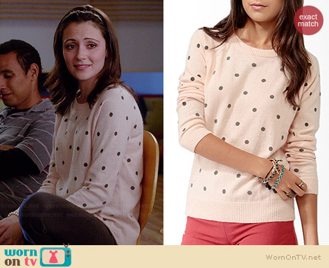 Forever 21 Polka Dot Sweater in Pink worn by Italia Ricci on Chasing Life