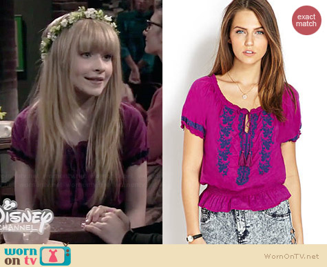 Forever 21 Prairie Life Embroidered Top worn by Sabrina Carpenter on Girl Meets World