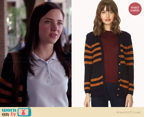 Forever 21 Prep School Varsity Cardigan worn by Haley Ramm on Chasing Life
