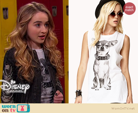 Forever 21 Punk Chihuahua Muscle Tee worn by Sabrina Carpenter on Girl Meets World