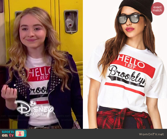 Forever 21 Rep Brooklyn Crop Top worn by Sabrina Carpenter on Girl Meets World