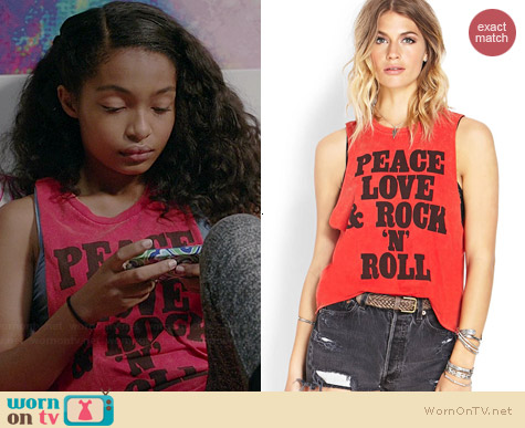Forever 21 Rock N Roll Muscle Tee worn by Yara Shahidi on Black-ish