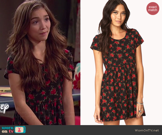 Forever 21 Romantic Rose Fit Flare Dress worn by Rowan Blanchard on Girl Meets World
