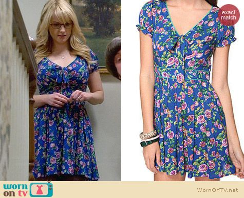 Forever 21 Rose Print Bow Dress worn by Melissa Rauch on The Big Bang Theory