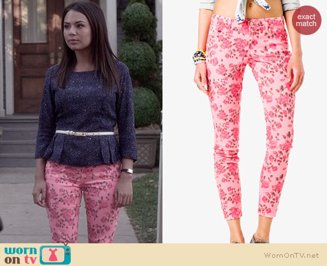 Forever 21 Rose Print Skinny Jeans worn by Janel Parrish on PLL