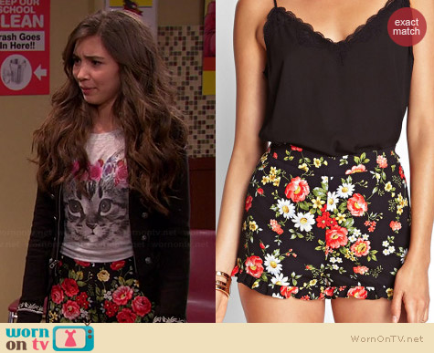 Forever 21 Ruffled Floral Shorts worn by Rowan Blanchard on Girl Meets World