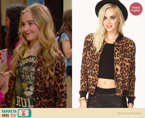 Forever 21 Run Wild Leopard Varsity Jacket worn by Sabrina Carpenter on Girl Meets World