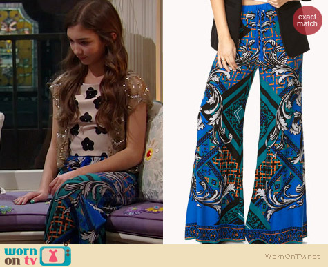 Forever 21 Scarf Print Wide Leg Pants worn by Rowan Blanchard on Girl Meets World