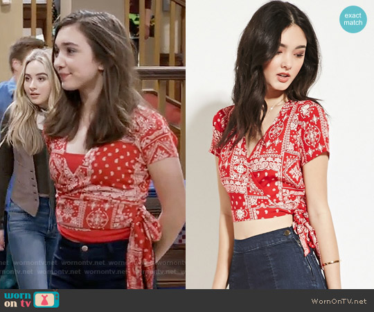 Forever 21 Self Tie Ornate Crop Top worn by Rowan Blanchard on Girl Meets World