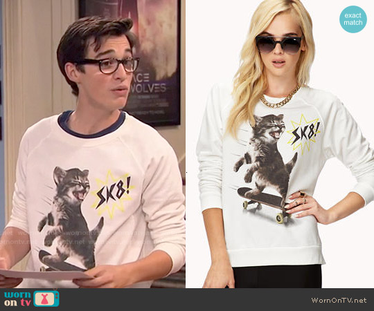 Forever 21 SK8 Cat Pullover worn by Joey Bragg on Liv & Maddie