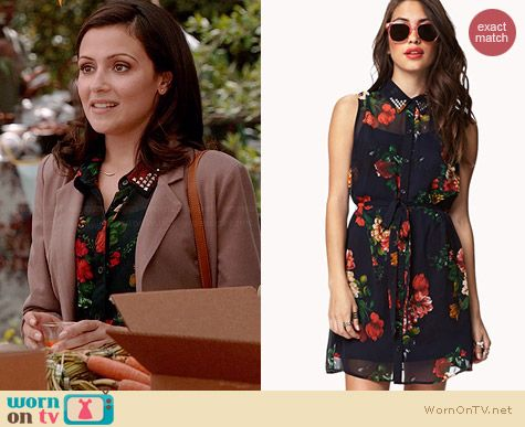 Forever 21 Sleeveless Floral Shirtdress worn by Italia Ricci on Chasing Life