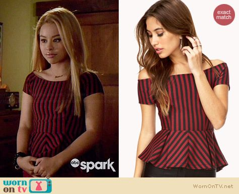 Forever 21 Sophisticated Stripes Peplum Top worn by Cierra Ramirez on The Fosters