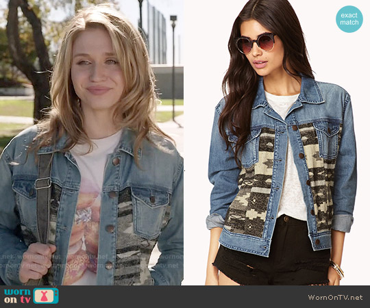 Forever 21 Southwestern Hero Denim Jacket worn by Amy on Faking It